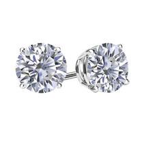 3Ct Simulated Diamond Brilliant Cut 14K White Gold Push Back Stud Earrings - $24.73