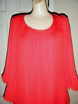 NWT WHITE HOUSE BLACK MARKET RED SILK 3/4 SLEEVE EMBELLISHED TOP SIZE 14... - $48.37