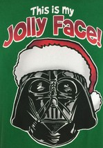 Darth Vader Christmas This Is My Jolly Face Green 100% Cotton M Medium - $16.46