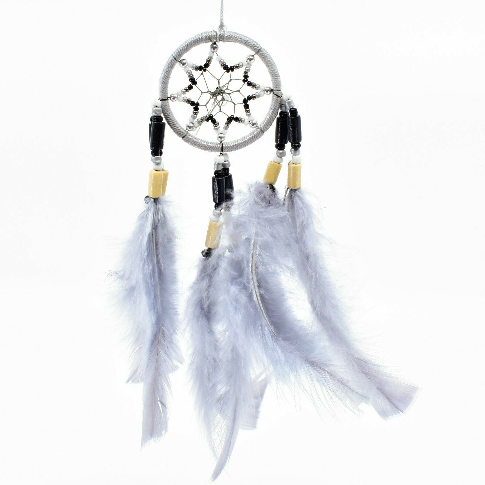 "Handcrafted Miniature 8"" Dreamcatcher Plastic Wood Beads w Gray Feathers"