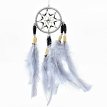 "Handcrafted Miniature 8"" Dreamcatcher Plastic Wood Beads w Gray Feathers  image 1"