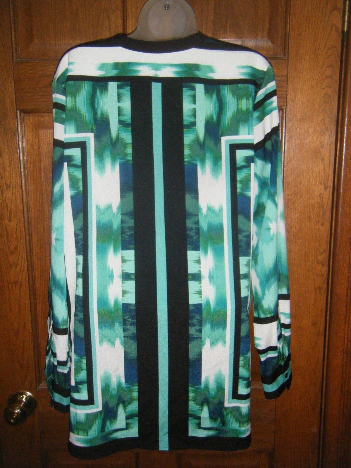 Calvin Klein Green White & Black Print Tunic Blouse - Size L