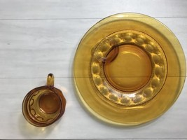 2 Piece Indiana Glass Kings Crown Amber Plate And Soup Bowl - $19.99
