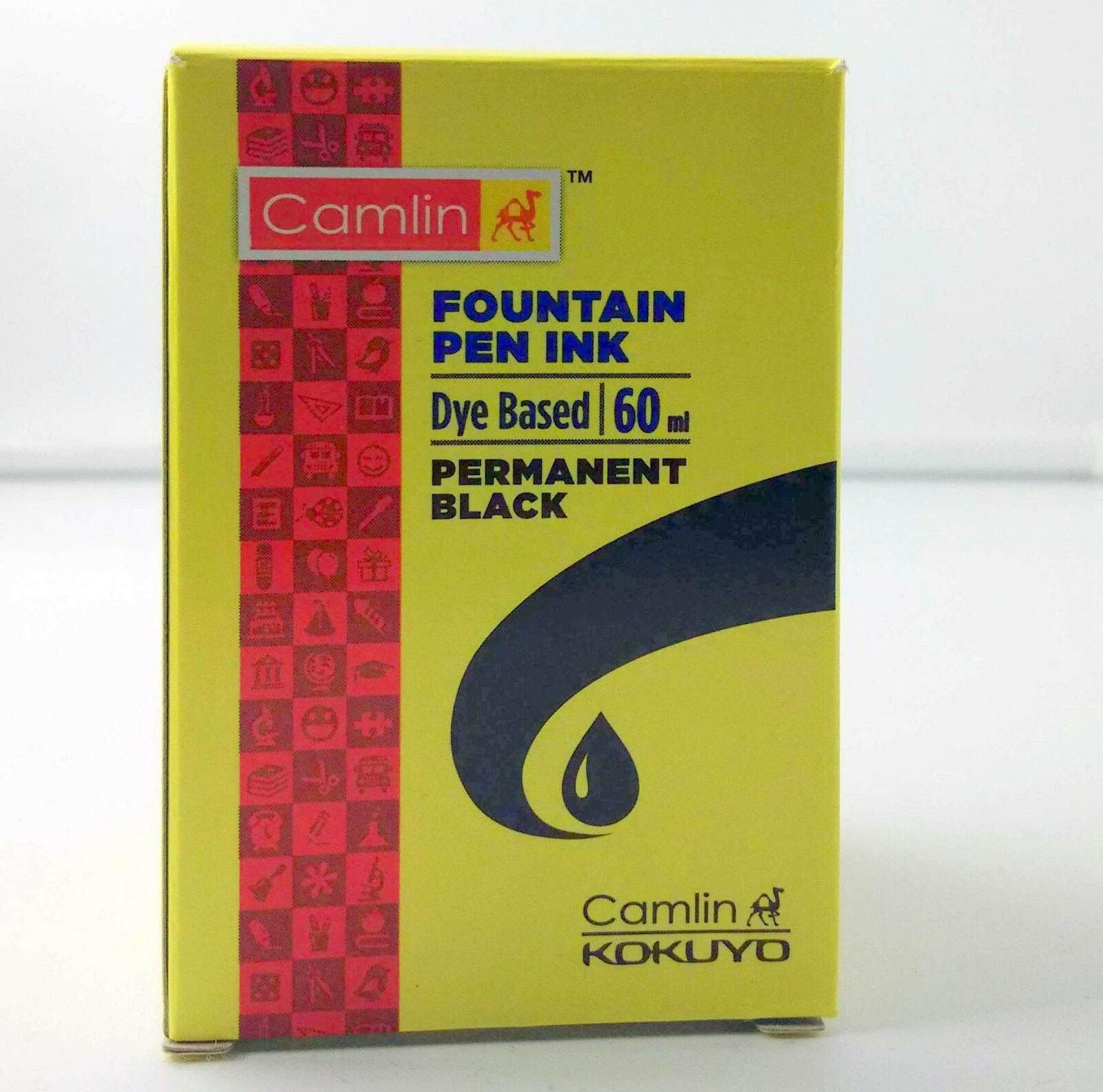 12 Camel Fountain Pen Ink PERMANENT BLACK Bottles 60 ml 2oz Camlin 12 qty Sealed
