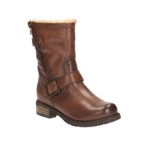 Clarks Women's Biker Boots Molly Tan Leather UK Size 7,8 wide fit - £40.34 GBP