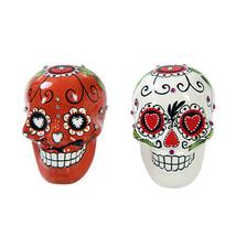 Pacific Giftware Day of Dead Sugar White & Red Skulls Salt & Pepper Shak... - £10.04 GBP
