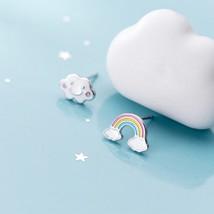 OBEAR 925 Sterling Silver Fashion Sweet Asymmetrical Rainbow Clouds Stud  - €3,69 EUR