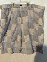 IZOD Shorts Madras Chinos Patchwork Blue Tan & White Plaid Mens Size Wai... - $19.97