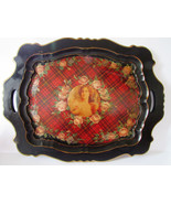 """Vintage Decoupage  Victorian Lady Wooden Tray Handpainted Roses 24"""" - $24.00"""
