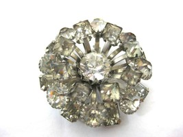 Vintage Brooch Pin Layered in Clear & Smoky Faceted Rhinestones Flower C... - $8.00