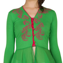 Ira Soleil green viscose knitted strechable printed layered long sleeves... - $49.99