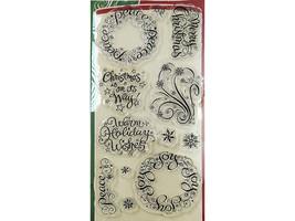 Inkadinkado Warm Holiday Wishes Clear Stamp Set #97734