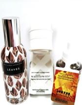 Bath & Body Works Leaves Room Spray, White Wallflower Plug & Bulb Set of 3 - $20.45