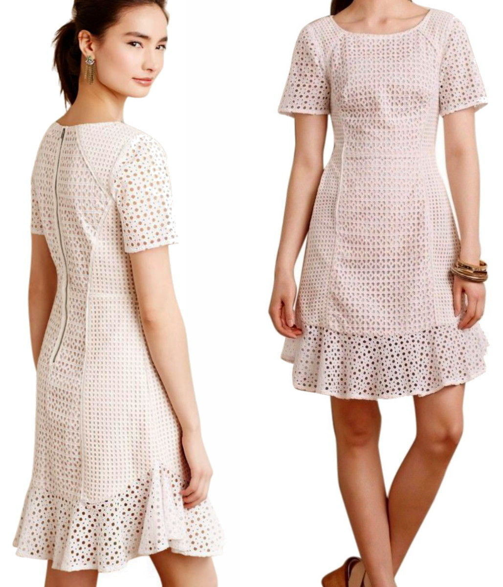 fcdb84a59479 $188 Anthropologie French Lattice Dress 10 Large White w Nude Lining Simple  Sexy - $89.00