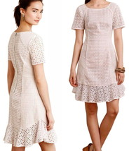 $188 Anthropologie French Lattice Dress 10 Large White w Nude Lining Sim... - $89.00