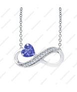 Heart Shaped Infinity Pendant Necklace Tanzanite & Diamond 14K White Gol... - $68.79