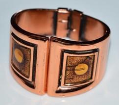 VTG Matisse RENOIR Copper INCA Orange Enamel Cuff Bracelet - $148.50