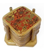 Wooden Coasters Set - 6 pics - 1 Holder - Made in Egypt - $6.80
