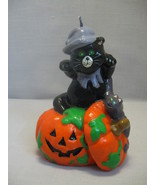 Halloween Figurine Candle Black Cat On Orange Pumpkin With Purple Bat - $7.95