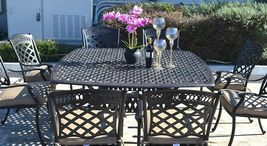 Cast aluminum patio dining set 9pc outdoor furniture square Nassau table 8 chair image 3