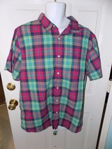 American Eagle Outfitters Vintage Fit Short Sleeve Multi Colored Plaid Size 2XL - $17.16