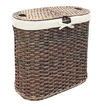 Seville Classics Handwoven Oval Double Laundry Hamper, Mocha - $87.21