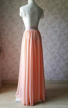 Coral Chiffon High Waist Full Maxi Skirt Coral Pink Wedding Chiffon Skirts image 6