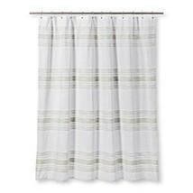 Threshold Fabric Shower Curtain Stripes Dobby Herringbone - $16.82