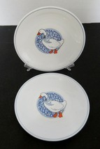 Arcopal Two Luncheon Plates Duck Blue Bow Blue Calico Medallion Ring Mil... - $14.73