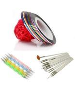 5 X 2way Dotting Pen Marbleizing Tool + 15pcs Nail Art Brush + Set Of 10... - $8.80