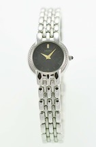 Seiko Womens Watch Silver Stainless Steel Black Battery Water Resistant ... - $70.90