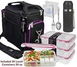 A2S Complete Meal Prep Lunch Box - 8 Pcs Set: Cooler Bag 3x Portion Cont... - $70.74