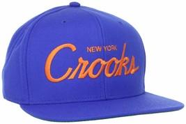 New York Metz Crooks & Castles Uomo Reale Arancione Tessuta Snapback Cappello image 1