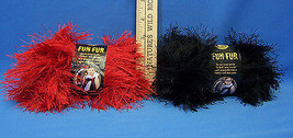 2 Skeins Lion Brand Fun Fur Bulky Polyester Yarn Bright Red & Black Long Fringe  - $15.04