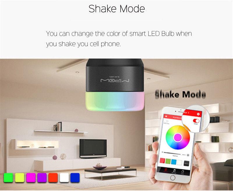 MIPOW E27 LED Bulb 5W RGB Light Smart Bluetooth 4.0 Wireless Control AC100-240V