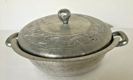 Vintage Everlast Aluminum Hammered Pea Pod Covered Bowl Hand Forged Vented - $19.75