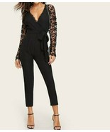 Black Guipure Lace Sleeve Deep V Neck Wrap Belted Jumpsuit Top Pants Women - $46.79