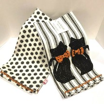 Halloween Kitchen Cup Towels Kitty Cats 2 set Spooky Holiday Home Decor NEW - £12.35 GBP