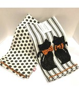 Halloween Kitchen Cup Towels Kitty Cats 2 set Spooky Holiday Home Decor NEW - $16.99
