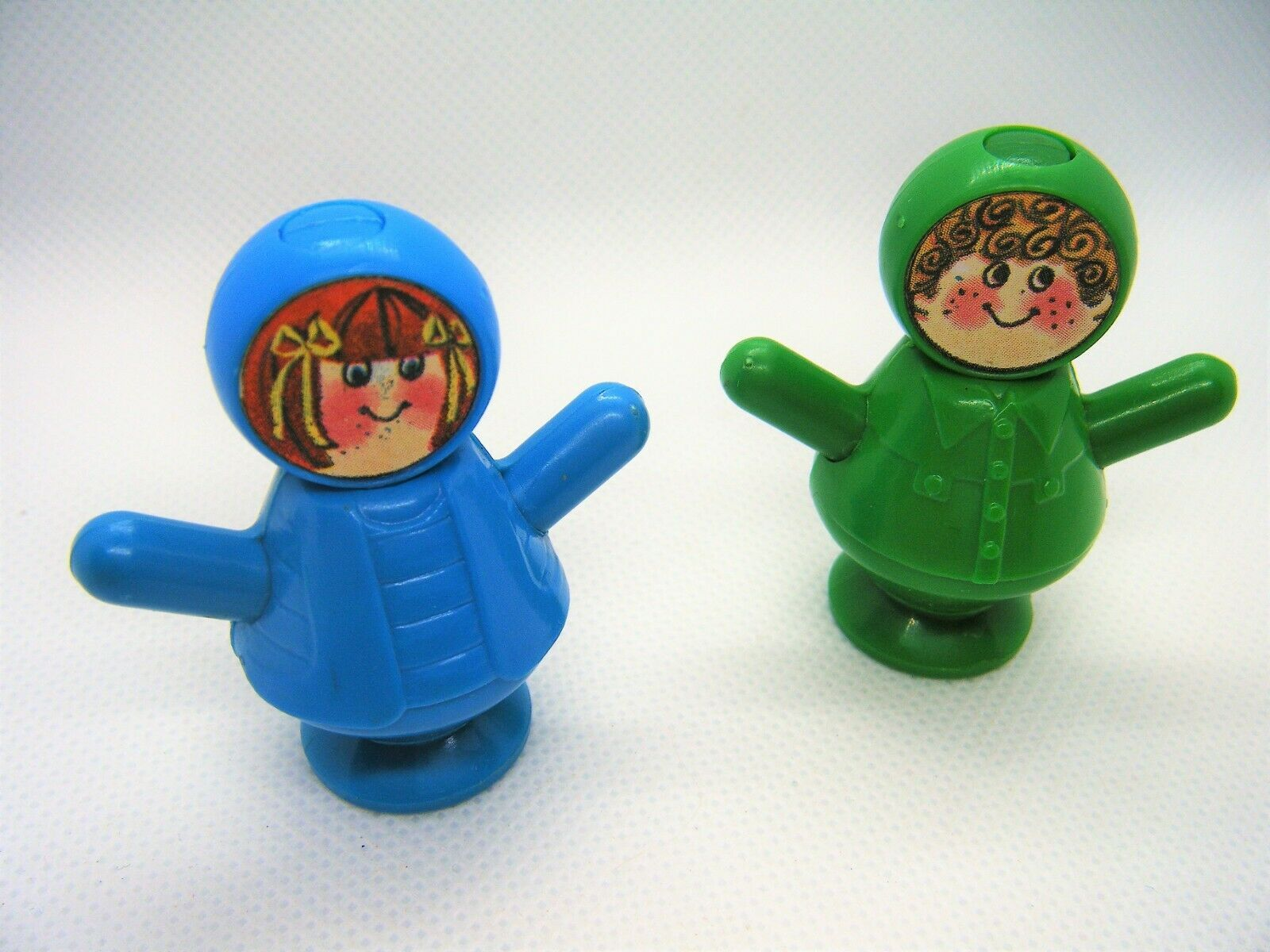 Vintage 1979 Knickerbocker POP'EM Playset People Green & Blue Girl & Boy KTC - $7.92