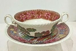 Copeland Spode Delft Tower Flat Cream Soup Bowl & Saucer Set - $39.11