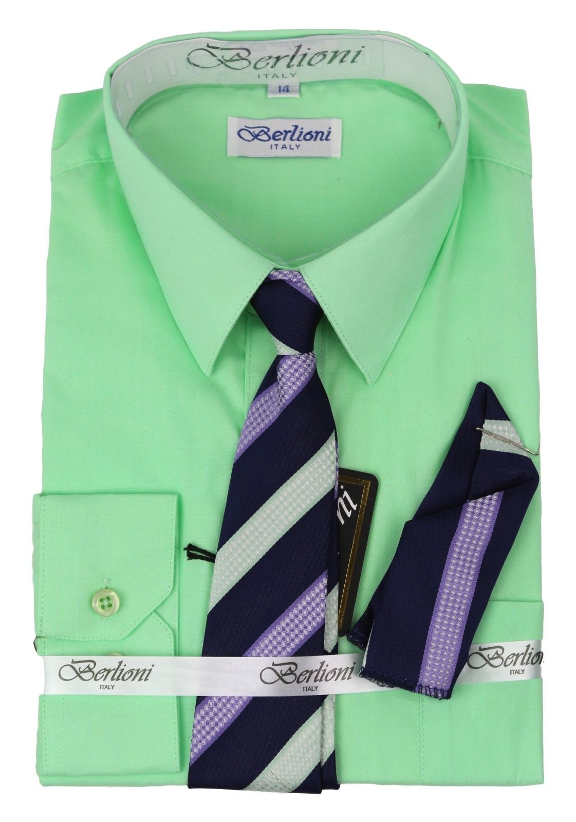 BERLIONI ITALY TODDLERS KIDS BOYS LONG SLEEVE DRESS SHIRT SET TIE & HANKY LIME