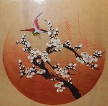 "Vintage Asian Painting Silk lg Signed Original Bird Cherry Branch 25""x25... - $120.12"
