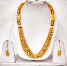 New Indian Gold Plated Yellow Beads Kundan Fashion Necklace Earrings Jewelry Set - $13.65