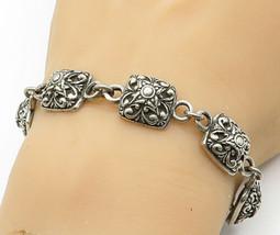 JRI 925 Sterling Silver - Vintage Square Floral Dome Link Chain Bracelet... - $72.00