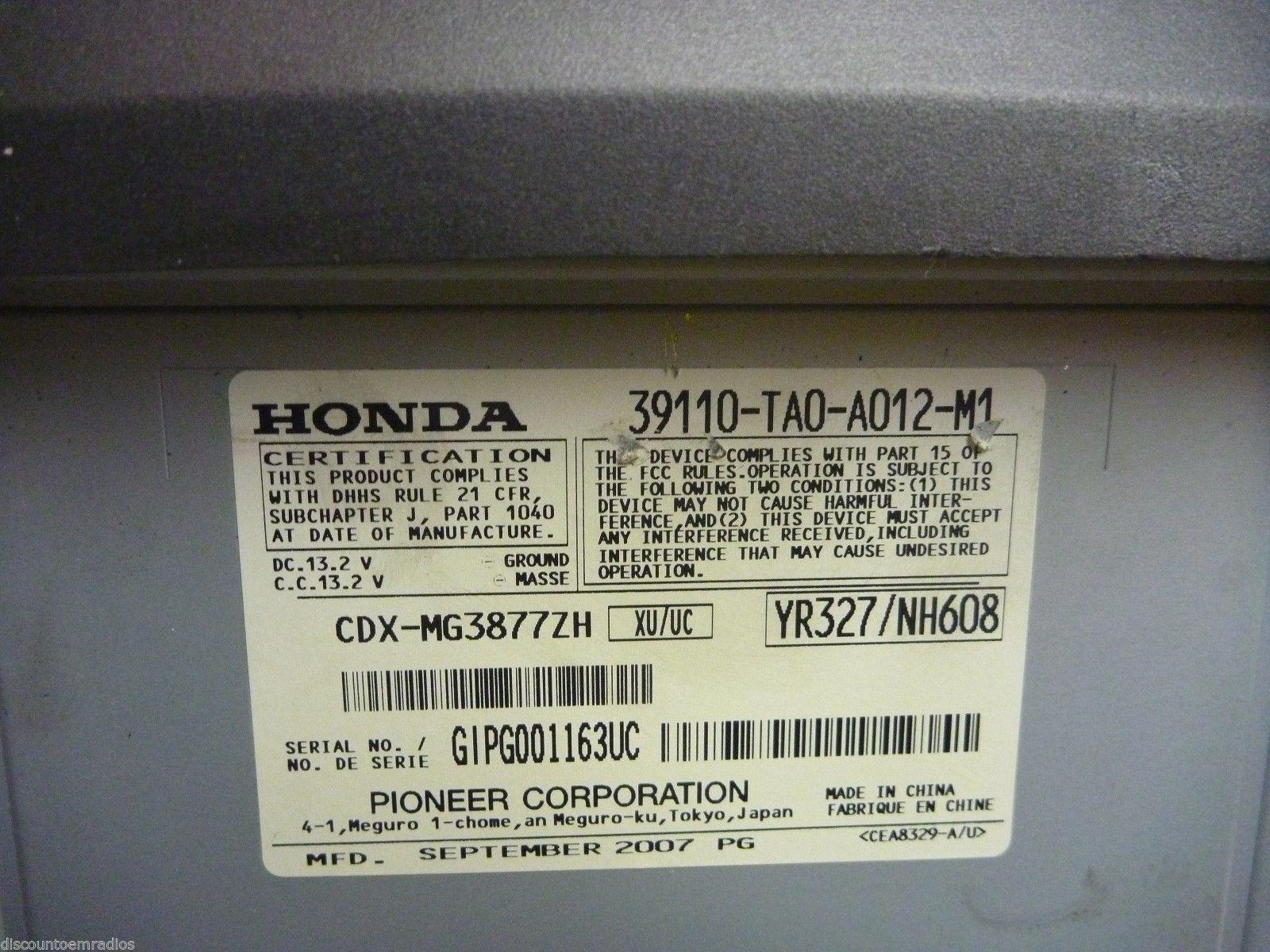 08 09 10 11 12 Honda Accord Premium Remote 6 Cd Player 39110-TA0-A012  C53483