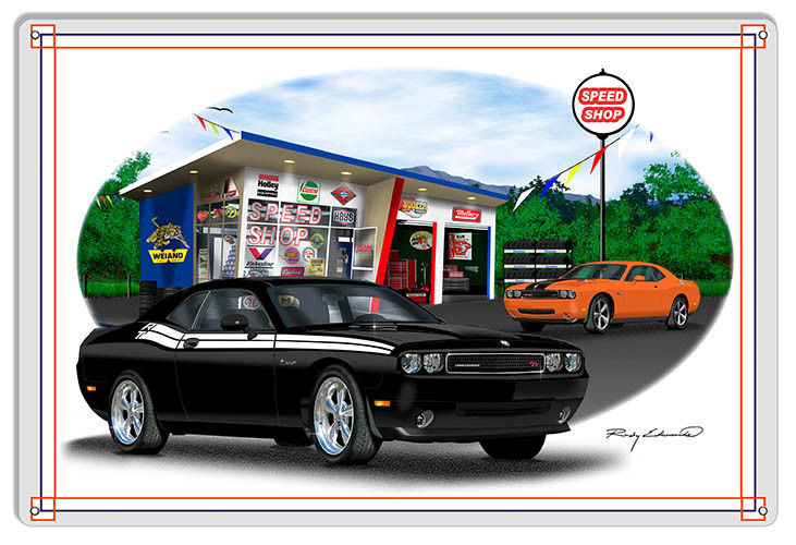 Primary image for Dodge Challenger Black Garage Art Metal Sign By Rudy Edwards  12x18