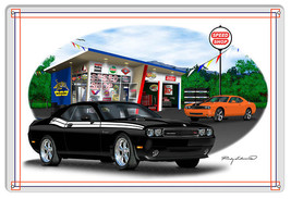 Dodge Challenger Black Garage Art Metal Sign By Rudy Edwards  12x18 - $25.74