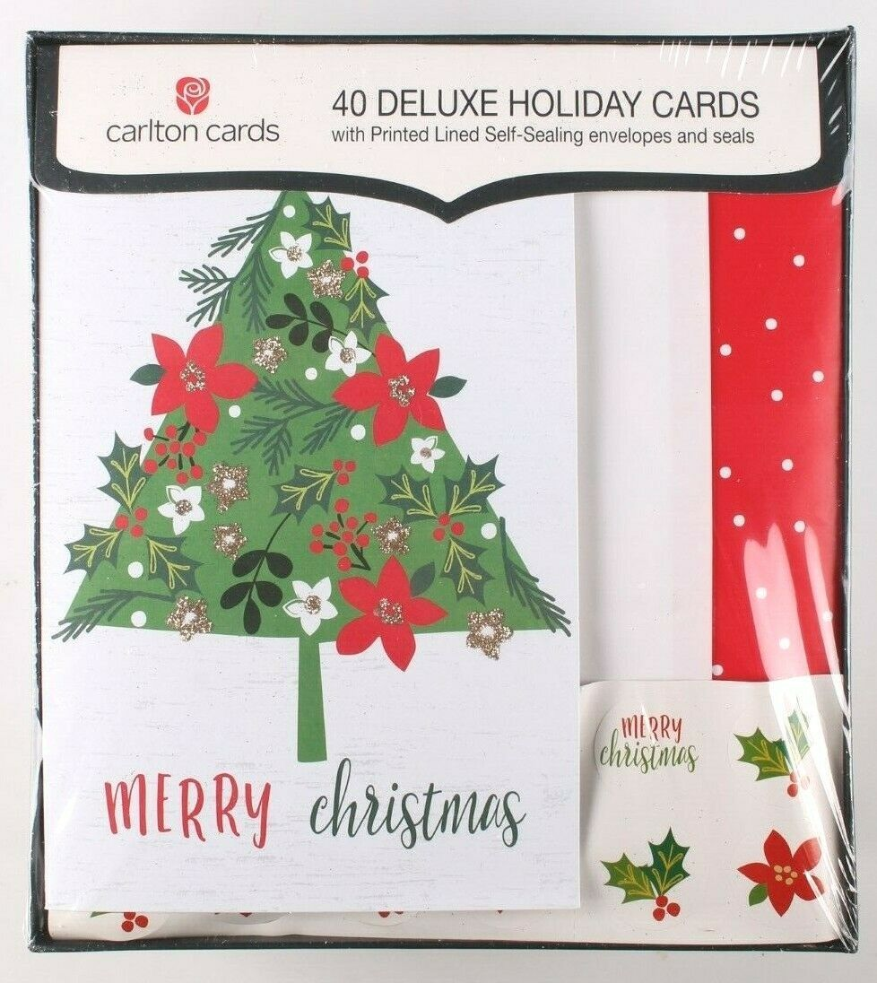 Carlton Christmas 40 Deluxe Holiday Cards Lined Self Sealing Envelopes and Seals