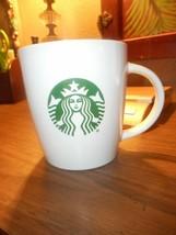Starbucks Mug 12oz White Ceramic MUG/GREEN Logo W Black LETTERING/PRESENT Colors - $17.81